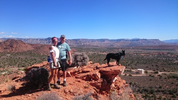 Tom and I and Abby at the Silver Reef overlook, Dixie National Forest, Utah