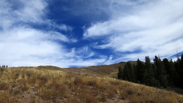 Hiking up a mountain near Big John Flat, Fishlake Mountains National Forest, Utah