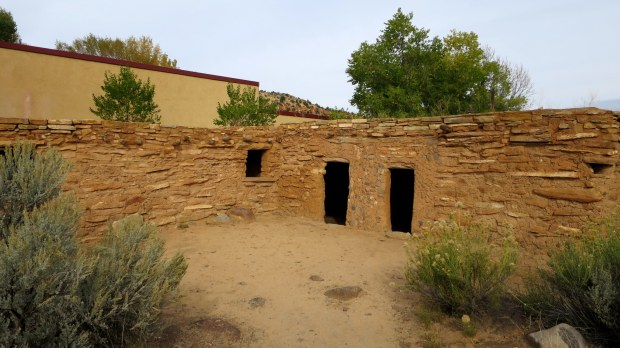 Reconstructed room block based on the excavated foundations at the Coombs site, Anasazi State Park, Utah