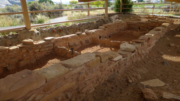 Excavated L-shaped room block with charred posts, Anasazi State Park, Utah