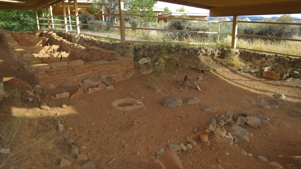 Excavated L-shaped room block with charred posts, Anasazi State Park, Utah