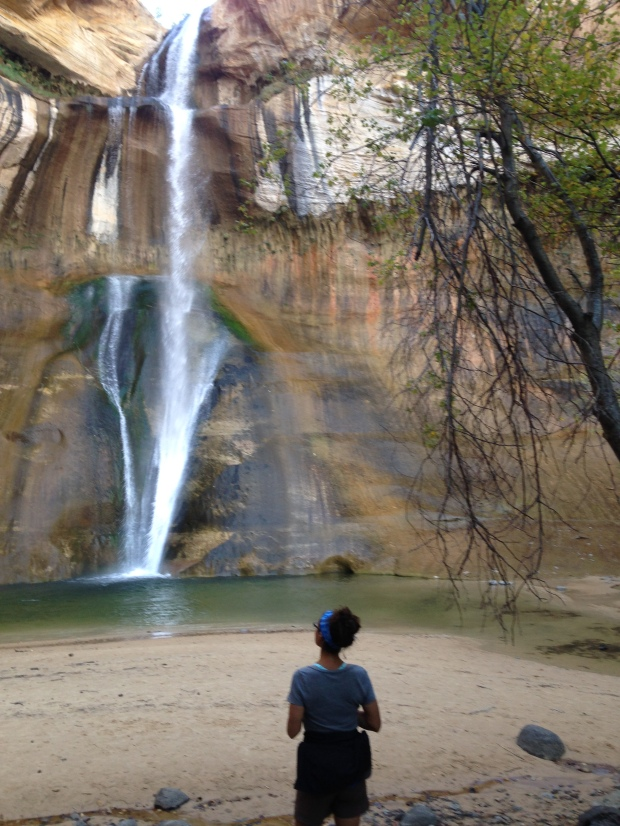 Me standing in front of Lower Calf Creek Falls, Grand Staircase-Escalante National Monument, Utah