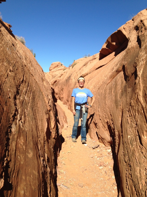 Me about to descend into the the top end of Spooky Slot Canyon, Hole-in-the-Rock Road, Grand Staircase-Escalante National Monument, Utah