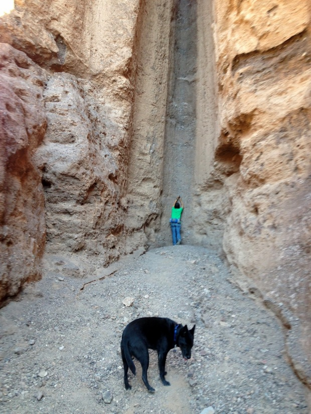 Me taking photos up the chute in Natural Bridge Canyon, Death Valley National Park, California