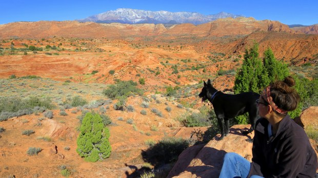 Abbs and I at snack time, Red Cliffs National Conservation Area, Utah