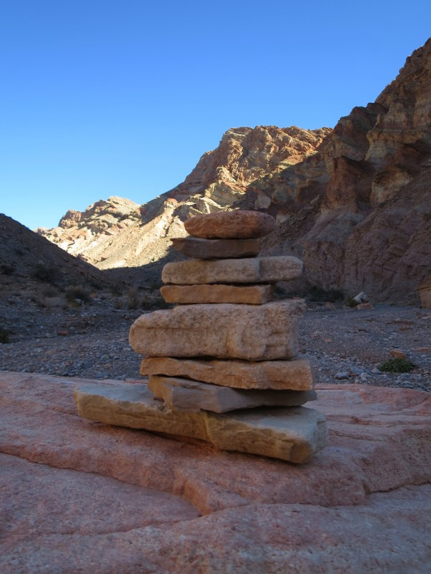 A most excellent cairn in the wash at the end of Anniversary Narrows, Muddy Mountains Wilderness, Nevada