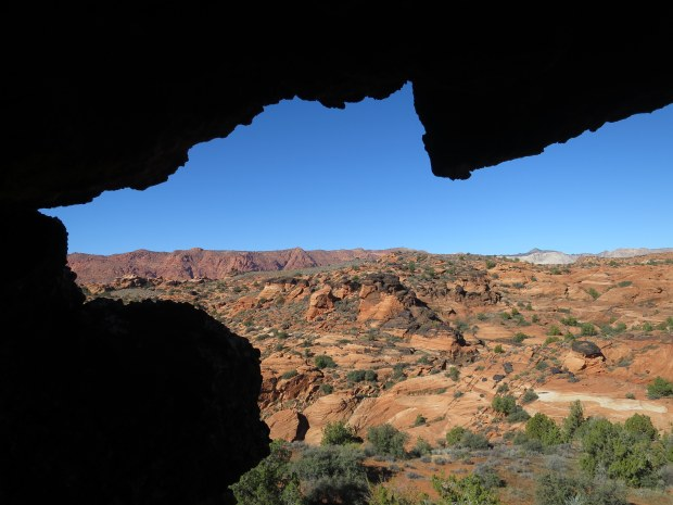 Looking out from a cave, Snow Canyon State Park, Utah