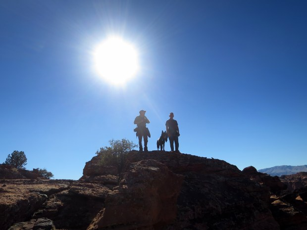Terry, Tom, and Abby overlooking a canyon, Snow Canyon State Park, Utah