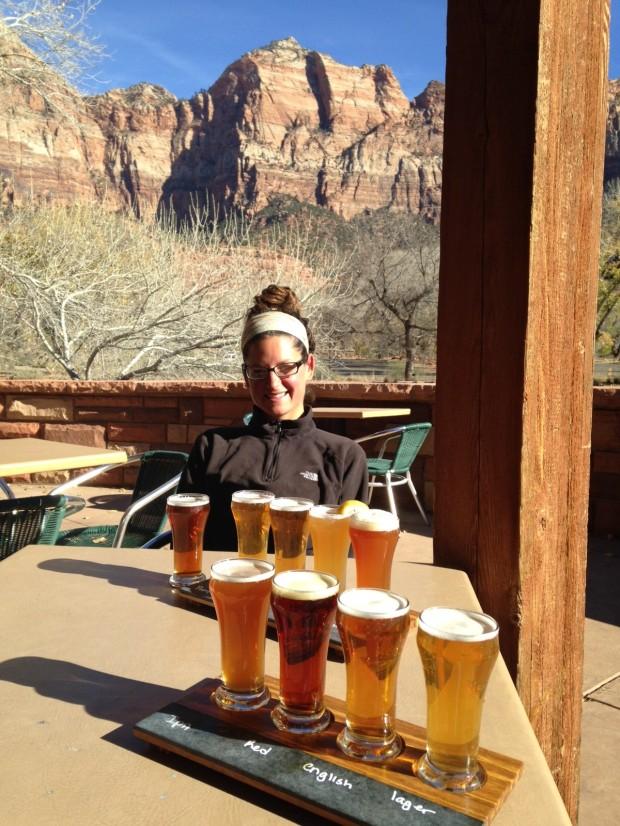 Flights at Zion Canyon Brewing Company, Springdale, Utah