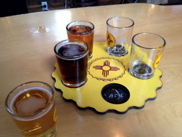 Flight at Sante Fe Brewing Company, Sante Fe, New Mexico