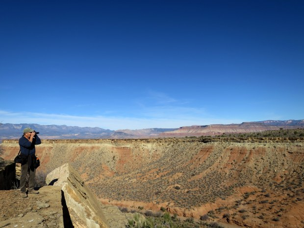 Terry taking photos, More Cowbell Trail, Hurricane Cliffs, Utah