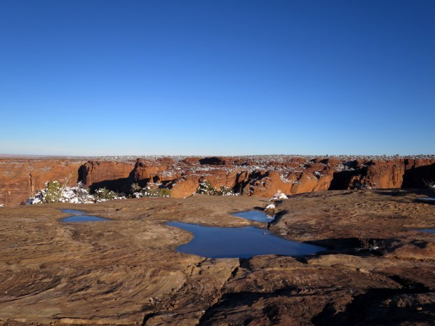 Frozen ephemeral pools, Sliding House Overlook, Canyon de Chelly National Monument, Arizona