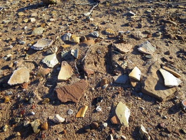 Pottery sherds near Homol'ovi I, Homol'ovi State Park, Arizona