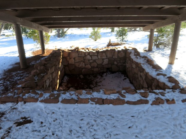 Remains of pueblo ruins on the rim of the canyon, Rim Trail, Walnut Canyon National Monument, Arizona
