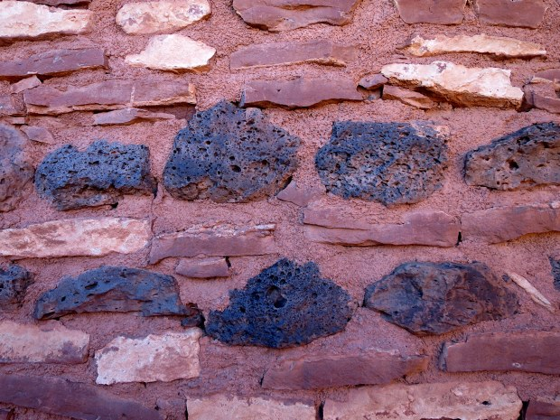 More banded masonry containing volcanic pumice at Nalakihu, Wupatki National Monument, Arizona