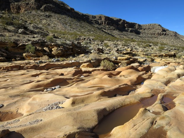 Sandstone erosion in the wash, Black Rock, Arizona