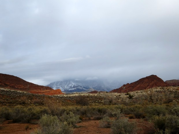 Snowstorm in the Pine Mountains to the west, Red Cliffs National Conservation Area, Utah