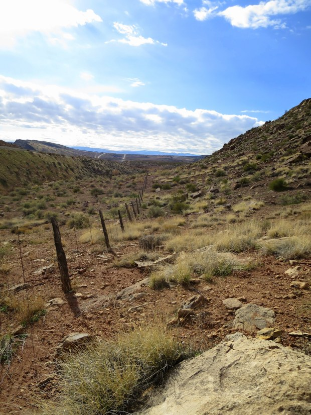The return hike along the fence, Red Cliffs National Conservation Area, Utah
