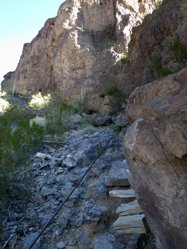First set of cables on the descent from the saddle around the backside of the mountain, Hunter Trail, Picacho Peak State Park, Arizona