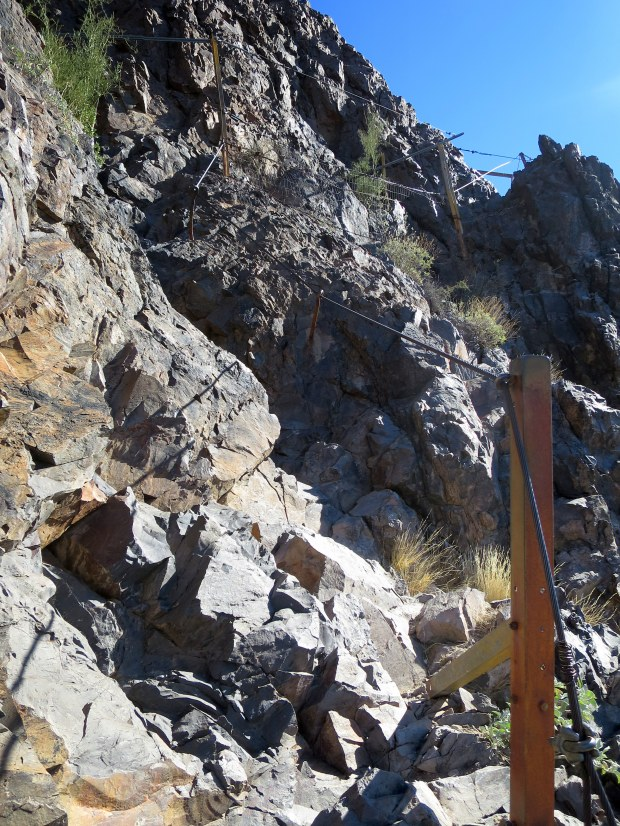 First set of cables leading up to the peak, Hunter Trail, Picacho Peak State Park, Arizona