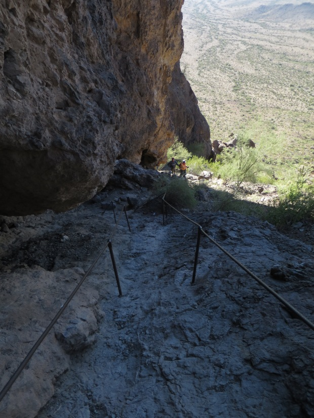 Back to the first set of cables on the return, Hunter Trail, Picacho Peak State Park, Arizona