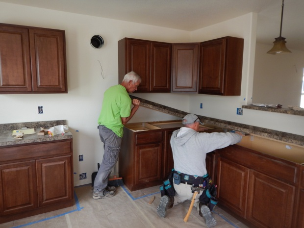The two Toms installing the kitchen counter in House 2, Mesilla Valley Habitat for Humanity, Las Cruces, New Mexico