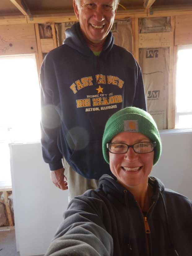 A quick selfie in the midst of sheetrocking, Mesilla Valley Habitat for Humanity, Las Cruces, New Mexico
