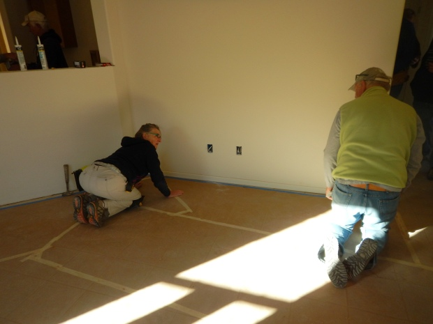 Judith and Rick doing trim, Mesilla Valley Habitat for Humanity, Las Cruces, New Mexico