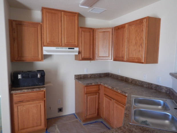 Kitchen just about completed in first house, Mesilla Valley Habitat for Humanity, Las Cruces, New Mexico