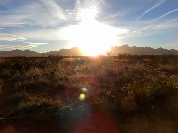 Sun rising above the Organ Mountains, Las Cruces, New Mexico