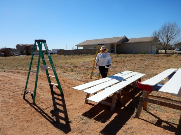 Rosalie painting shelving, Mesilla Valley Habitat for Humanity, Las Cruces, New Mexico