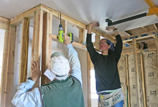 Tony and I raising drywall, Mesilla Valley Habitat for Humanity, Las Cruces, New Mexico. Photo by Mac Fell.
