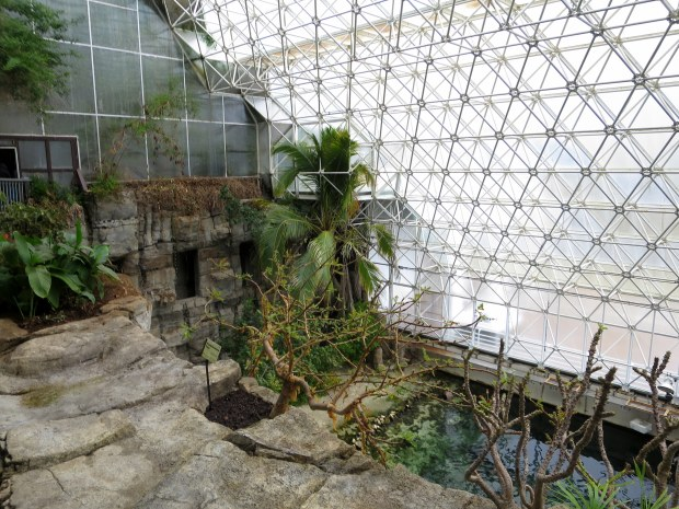 Looking down on ocean biome and across to rainforest biome inside glass, Biosphere 2, Arizona