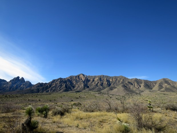 Organ Mountains seen while driving into Aguirre Springs National Recreation Area, New Mexico