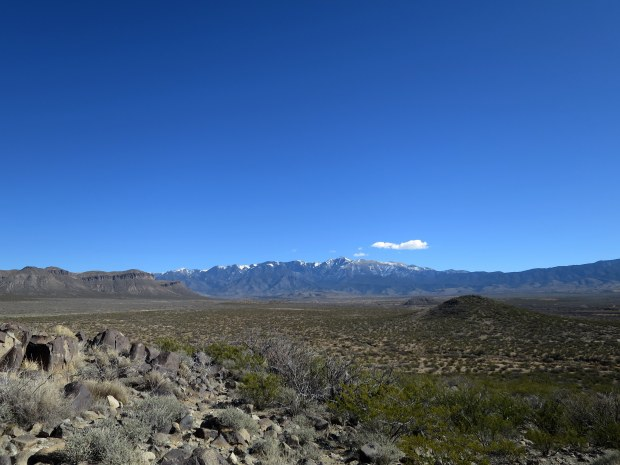 Sierra Blancas of Lincoln National Forest seen from the Three Rivers Petroglyph Site, New Mexico