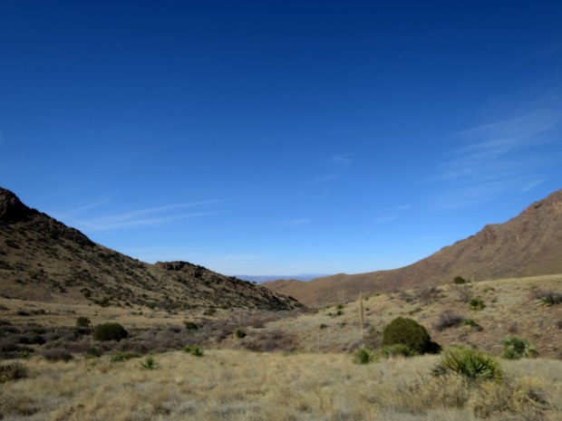 First view looking back towards the mouth of the canyons, Soledad Canyon Recreation Area, New Mexico