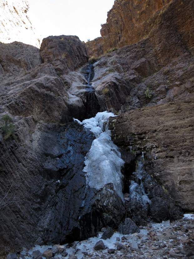 Iced-over waterfall, Bar Canyon, Soledad Canyon Recreation Area, New Mexico
