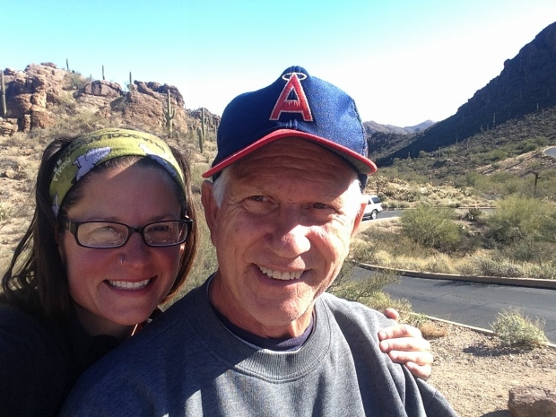 Us at an overlook at Tucson Mountain Park prior to the hike, Arizona