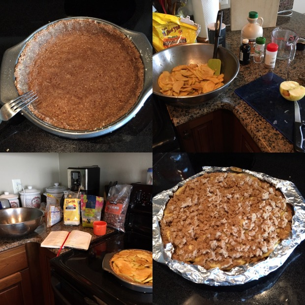 Clockwise: Making pecan oat crust, slicing apples, getting together crumb topping, and finally ready  to go in the oven