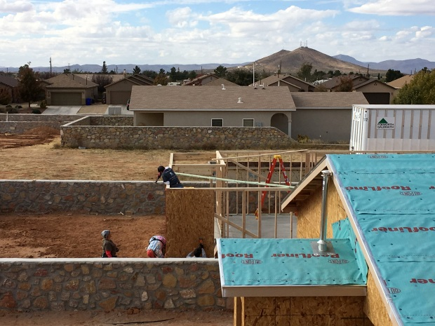 My first view of the walls being sheathed!