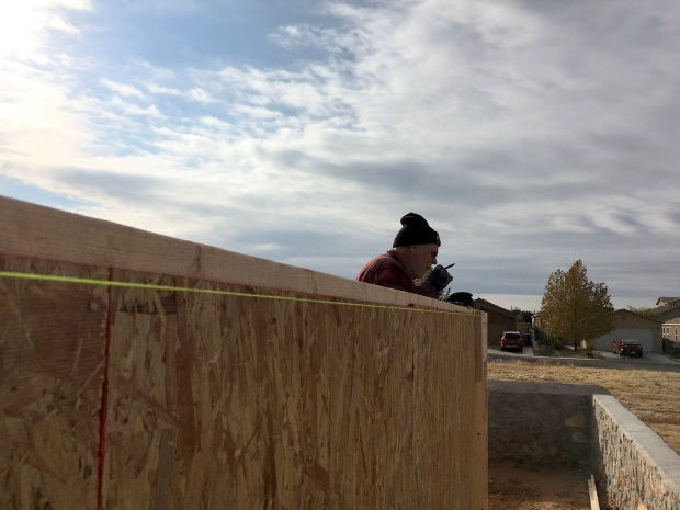 Tony marking the top plates for trusses