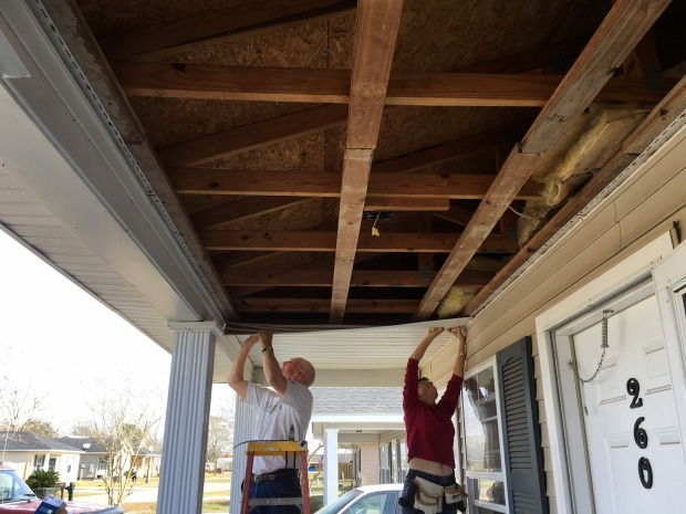 Ken and Carola replacing porch ceilings