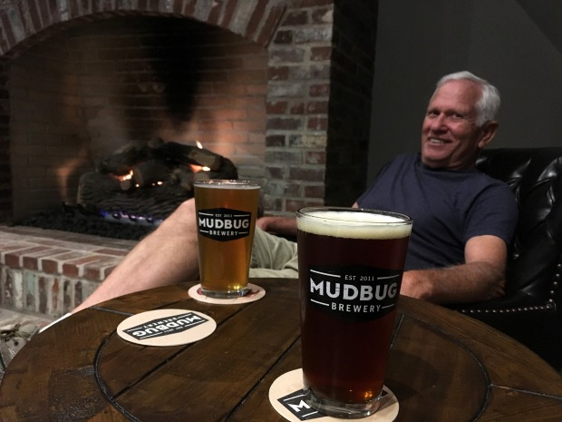 Tom and I enjoying pints at Mudbug Brewery