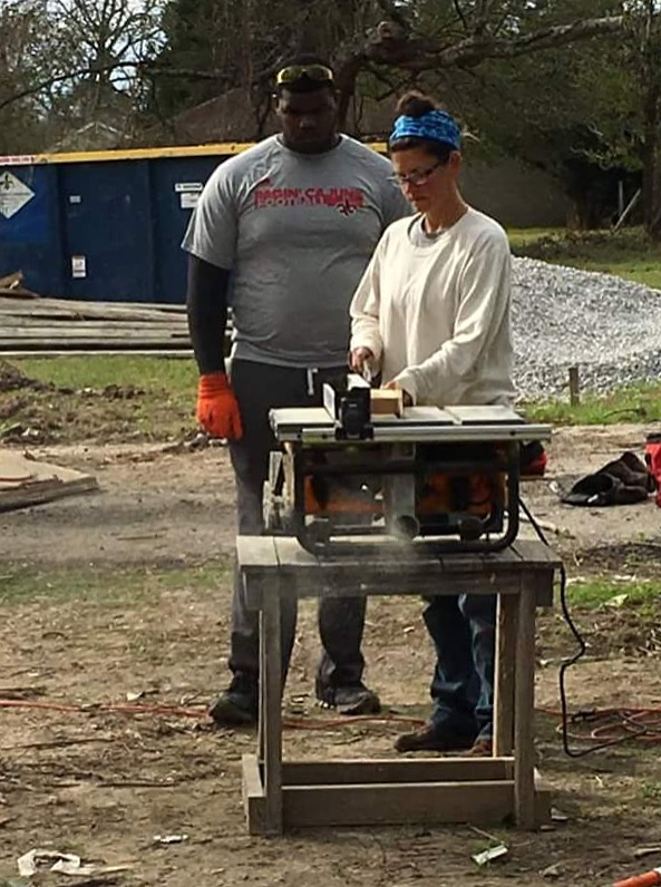 Me demonstrating how to use the table saw